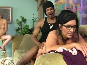 Curvaceous and hot brunette white slut eats black dick on the couch