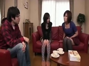 Striking Japanese babe with a marvelous ass feeds her hunge