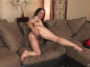 Confident and lusty Nina Swiss shows her hairy twat and pleases it