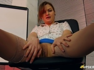 Hot secretary April O is brave enough to show off her sweet pussy