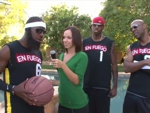 Hot Reporter Gang-Banged by Basketball Team