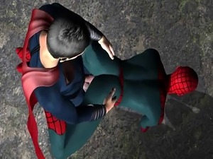 3D cartoon Spiderman getting fucked anally in a back alley