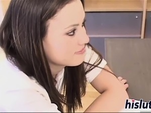 Young schoolgirl has her tight muff plugged