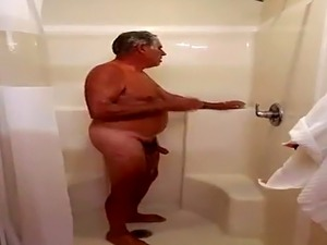 Fat Man Shower Jacks Off