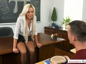 Mature and majestic blonde professor sucks dick and fucks a student