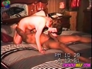 Cuckolds wife with BBC bull Sissy husband just watches her