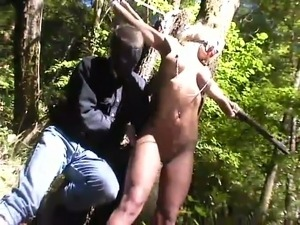 Nice outdoor bdsm for a sizzling blondie Janay