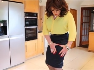 Yellow blouse and blue satin skirt