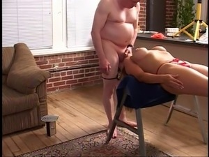 Fat guy getting blond on his cock