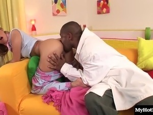 Black doctor wants to examine a hot babe's throbbing hole