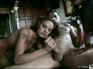Captivating hot ass cowgirl loves giving cock titjob in ffm porn