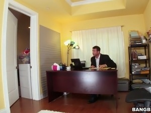 Four eyed secretary needs to keep this job she offers her boss a sex