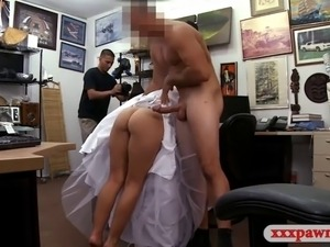 Cute blond girl wears her wedding dress and fucked hard