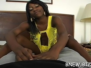 A horny works his magic on a black pussy today with his knob