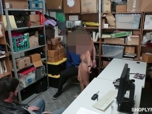 Horny shoplifter is enjoying some raunchy sex with a horny police officer