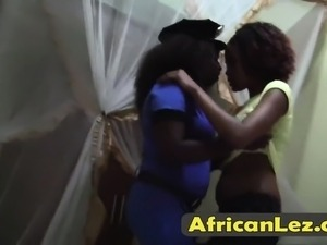 Lesbian sex tape with two hot Ebony babes