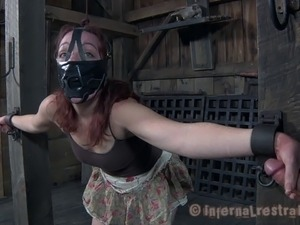Redhead dame nose clipped before hard spanks in BDSM porn
