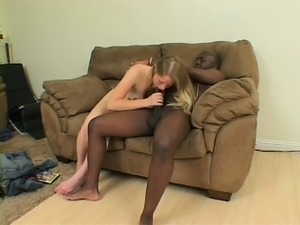 Adorable blonde college girl seizes the chance to suck and fuck a huge black...