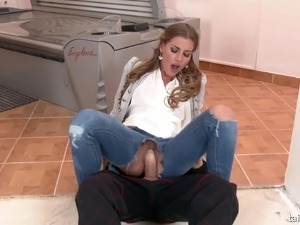 Fully-clothed fucking and pissing on beauty Silvia Dellai