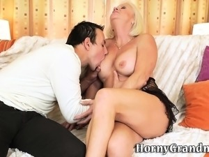 Kinky grandma sucks dick