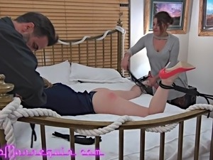 Submissive Gracelynn Moans Tied, Spanked And Ass-Licked