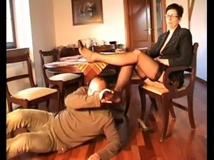 Cute Nerdy Girl in glasses Footjob 36
