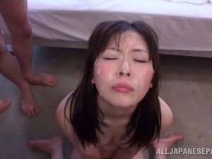 A cute Japanese coed cums on his cock then he cums on her face