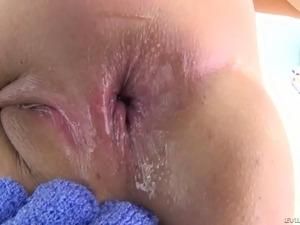 Curvy girl bent over and taking it deep in her sweet ass