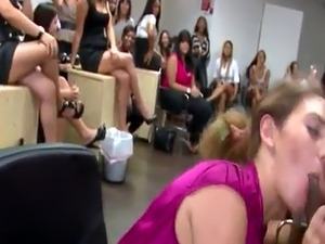 CFNM babes blowing cock at office party