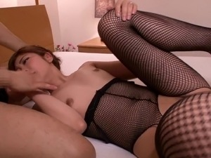 Wild Asian lass in fishnet stockings enjoying being smashed hardcore in a...