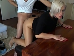 HOrny blonde mature cousin comes for sex