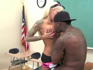 Sassy and dirty blonde college chick blows BBC of her coed