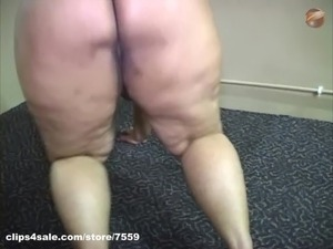 BBW Lady Red dances and oils up