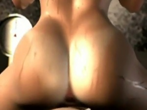 3D Anime Busty Babe Rides Dick!