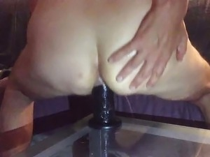 Part2 sharing thick black dildo with my wife warming up