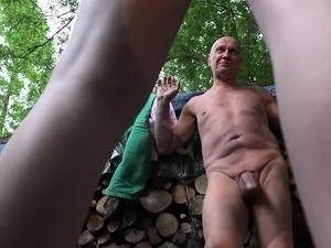 Grandpa and 2 young girls caught and fucked old young