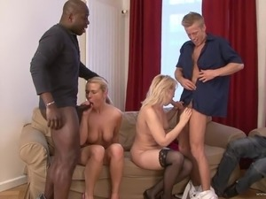 A few crazy hussies enjoy ardent interracial group sex