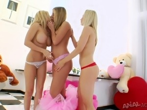 Ashley, Madison and Chastity lick and toy each other's awesome assholes