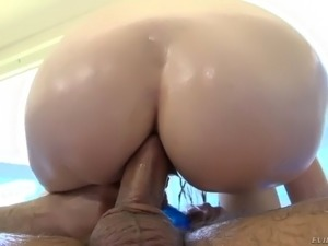 ginger violet monroe gets ass toyed with monster dildo and fucked rough