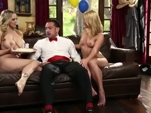 Lucky hubby gets awesome gift from his big breasted wife Abby Cross