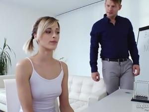Sweet pigtailed Czech girl Ria Sunn takes double cock penetration (FMM)