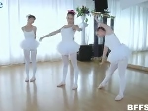 Cute ballerinas in tutus desire to work on stiff dick in the dance practice room