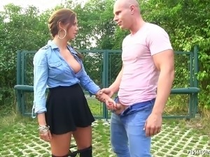 Trespassing European slut gets fucked outdoors and pissed on