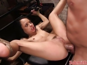 BDSM sub suspended for pussy fucking cock