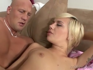 Hot tempered and bald headed stud drills young blonde with pierced clit