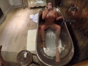 Beautiful Horny Slut Masturbates & Rides a Dildo in the Bath