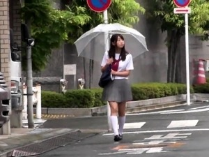 Alluring Japanese babe gets treated like a slut in public