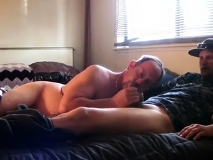 Fat guy puts his mouth to work on his lover's hard shaft