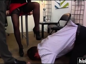 Horny blonde makes her husband watch
