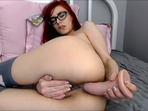 Latex slut solo anal masturbation